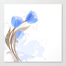 Abstract Blue Watercolor Tulips Canvas Print