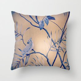 bird wall paper Throw Pillow