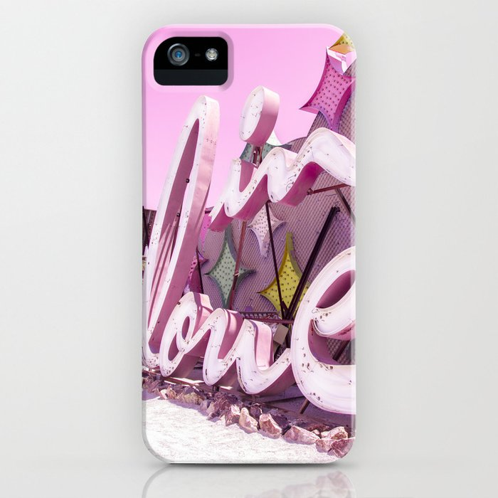 """Pink """"In Love"""" Sign at the Neon Museum in Las Vegas, Nevada iPhone Case"""