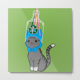 Grey Tabby Wears Recycled Plastic Hat Metal Print