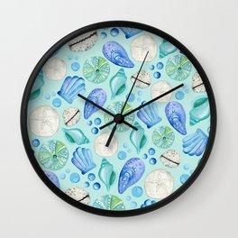 Aqua Seashells Down By The Seashore Wall Clock