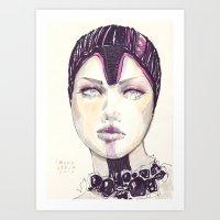 fashion illustration Art Prints featuring Fashion illustration  by Ioana Avram