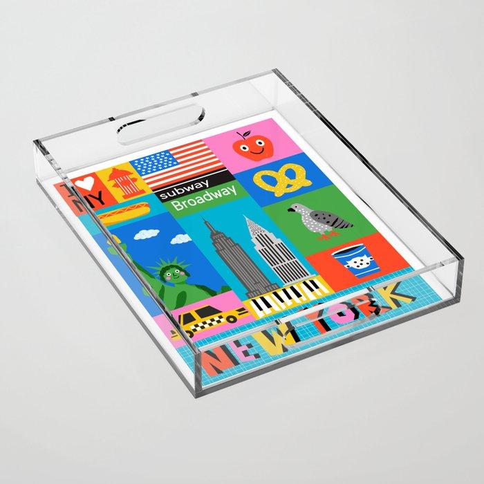 New York City memphis retro wacka art print 80's style NYC Acrylic Tray