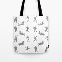 secret life Tote Bags featuring The Secret Life of Bigfoot by Ann Pickard