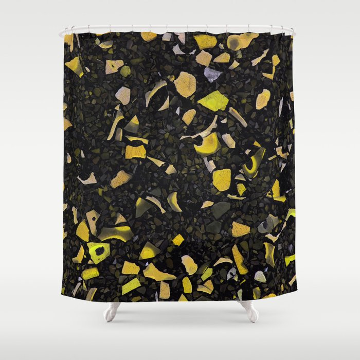 Black Terrazzo And Yellow Shower Curtain By Patternmaker Society6