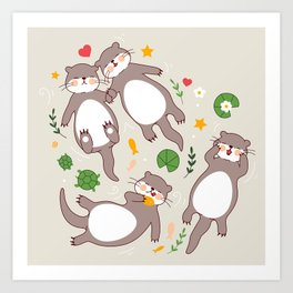 Significant otters Art Print