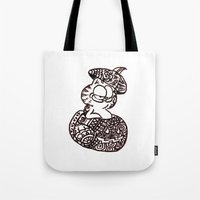 garfield Tote Bags featuring 37. Garfield in Henna Pumpkin @ Halloween  by Hennaart yume by kat