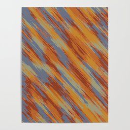 orange brown and blue painting texture abstract background Poster