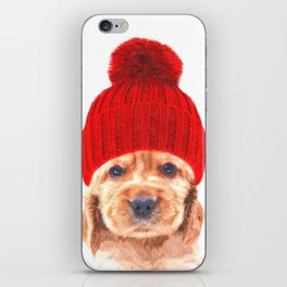 Cocker spaniel puppy with hat iPhone Skin