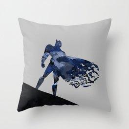 Bat man  Dark blue hero Knight comic digital brush Throw Pillow