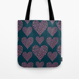 Seamless pattern of many little hearts in the shape of hearts Tote Bag