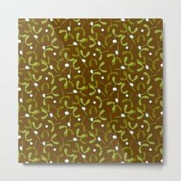 Rustic Mistletoe - Bg. Wood Metal Print