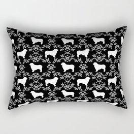 Australian Shepherd black and white dog breed pet portrait dog silhouette pattern minimal Rectangular Pillow