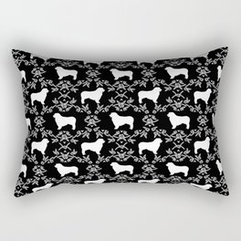 Australian Shepherd black and white dog breed pet portrait dog silhouette pattern minimal Rectangular Pillow