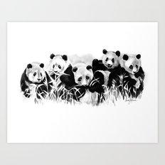 Panda Siblings Art Print