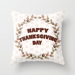 Greating card on Thanksgiving day Throw Pillow