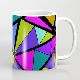 An abstract geometric pattern . Brightly colored triangles . Coffee Mug