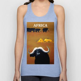 Vintage Africa Travel - Water Buffalo Unisex Tank Top