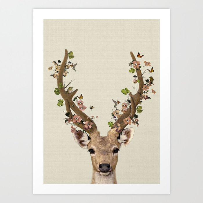 Deer Print Flower Crown Woodlands Decor Wall Art Animals Print Woodlands Nursery Art Art Print