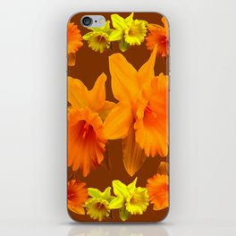 YELLOW SPRING DAFFODILS & COFFEE BROWN COLOR ART iPhone Skin