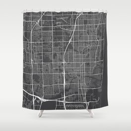 Fort Lauderdale Map, USA - Gray Shower Curtain