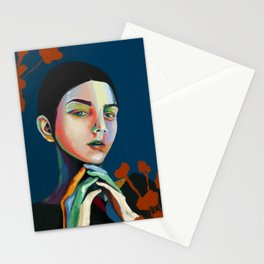 Girl and flowers Stationery Cards