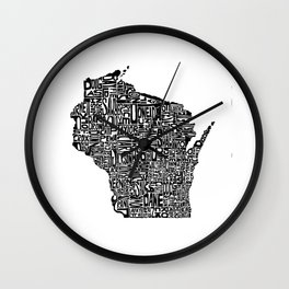 Typographic Wisconsin Wall Clock