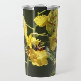 Macro of Bee Pollinating a Palo Brea Blossom Travel Mug