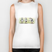 cows Biker Tanks featuring Three cows by Tali Shemes