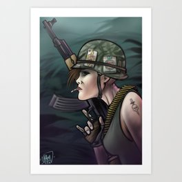 AK47 girl soldier Art Print