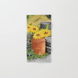 Sunflowers in Milk Can Hand & Bath Towel
