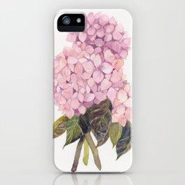 watercolor pink hydrangea iPhone Case