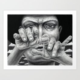Ooga Booga - charcoal drawing - spooky, creepy, hypnotist, wizard magician, male, magic Art Print