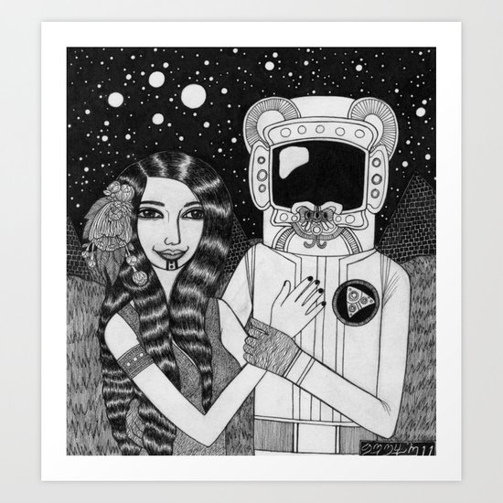 Girl with Ancient Astronaut Art Print