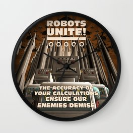 Robots Unite Wall Clock