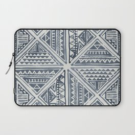 Simply Tribal Tile in Indigo Blue on Lunar Gray Laptop Sleeve