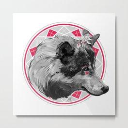 Wild Child - Pink Wolf Metal Print