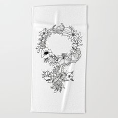 Feminist Flower  2.0 Beach Towel
