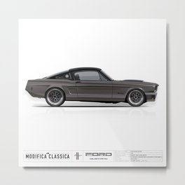 1965 Ford Mustang Fastback GRAPHITE Metal Print