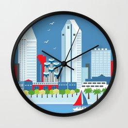 San Diego, California - Skyline Illustration by Loose Petals Wall Clock