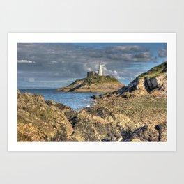 Swansea Lighthouse Mumbles Art Print