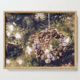 Jingle Bell Wreath on Christmas Tree (Color) Serving Tray