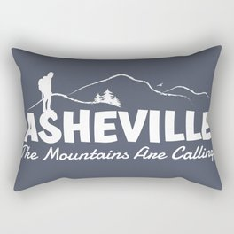 Asheville - The Mountains Are Calling - AVL 2 White On Dark Grey Rectangular Pillow