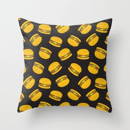 Burger Pattern  Everett co Throw Pillow