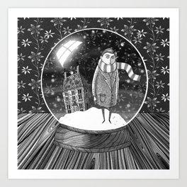 The Boy in the Snow Globe  Art Print
