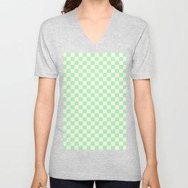 Cream Yellow and Magic Mint Green Checkerboard Unisex V-Neck
