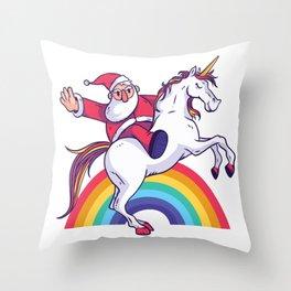 Santa Unicorn Throw Pillow