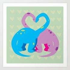 dino love pillow Art Print