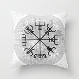 VEGVISIR Nordic sign post compass wayfinder watercolor v3 Throw Pillow