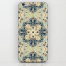 Protea Pattern in Deep Teal, Cream, Sage Green & Yellow Ochre  iPhone & iPod Skin